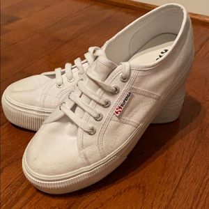 Superga 2790 White Platform Sneaker size 7.5/38